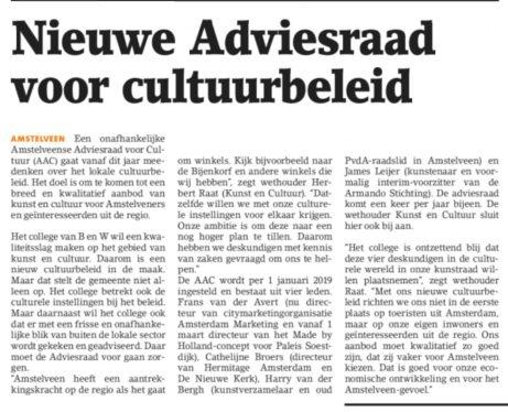 2019-Het Amstelveens Nieuwsblad: Herbert Raat over Amstelveense Adviesraad voor cultuurbeleid.