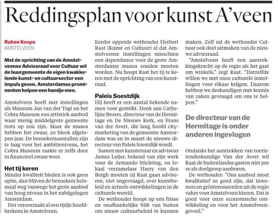 2019-8-1 Het Parool: wethouder Herbert Raat over de Amstelveense Adviesraad cultuur