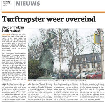 2019-30-1 Amstelveens Nieuwsblad: Herbert Raat over nieuwe plek voor de turftrapster