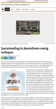 2019-2-1 Amstelveens Nieuwsblad: Herbert Raat over rustige jaarwisseling Amstelveen