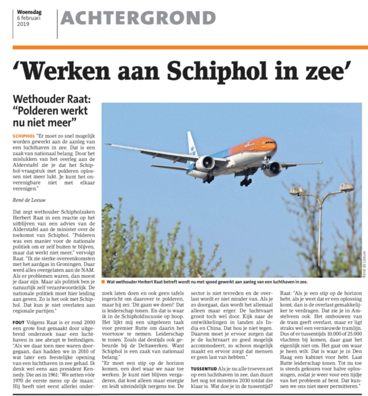 2019-6-2 Amstelveens Nieuwsblad; Herbert Raat over Schiphol in zee