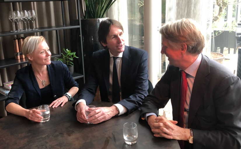 2019-Wethouders Amstelveen Floor Gordon D66, Herbert Raat VVD en Dick Benschop Schiphol