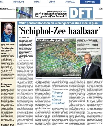 2019-4-2 De Telegraaf; Hans de Boer over Schiphol in zee