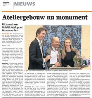 2019-20-2 Het Amstelveens Nieuwsblad, Herbert Raat, Ewa Petiet en Bas Eenhoorn over Ateliergebouw Van Weerden Poelmanlaan