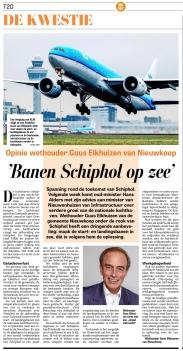 2018 De Telegraaf; wethouder Guus Elkhuizen van Nieuwkoop over Schiphol op Zee