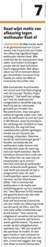2019-20-6 Amstelveens Nieuwsblad over de verworpen motie van afkeuring van Ruud Kootker BBa en Groen Links tegen wethouder Herbert Raat over Schiphol