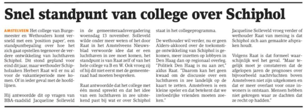 2019-20-2 Amstelveens Nieuwsblad; wethouder Herbert Raat over Schiphol in zee