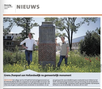 11-08-2021; Amstelveens Nieuwsblad; Herbert Raat en Norman Vervat banpaal aan Hollandsedijk