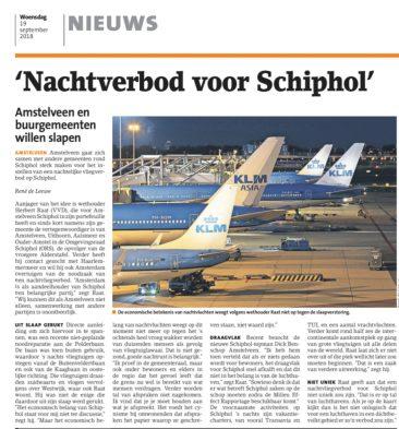 2018-19-9 Amstelveens Nieuwsblad; Herbert Raat over nachtverbod Schiphol
