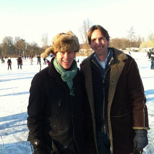 2012-Kees Noomen en Herbert Raat schaatsen op de Poel