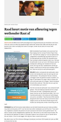 2019-13-6 Amstelveens Nieuwsblad site over de verworpen motie van afkeuring van Ruud Kootker BBa en Groen Links tegen wethouder Herbert Raat over Schiphol
