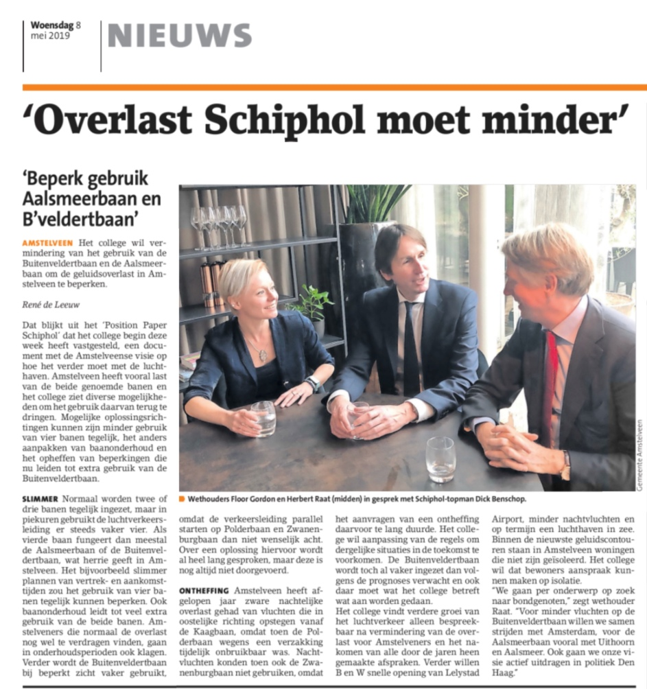 2019-8-5 Amstelveens Nieuwsblad; Herbert Raat over overlast Schiphol