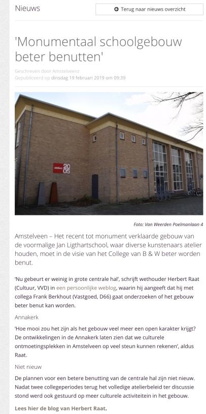 2019-19-2; Amstelveenz; Herbert raat over beter benutten Van Weerden Poelmanlaan