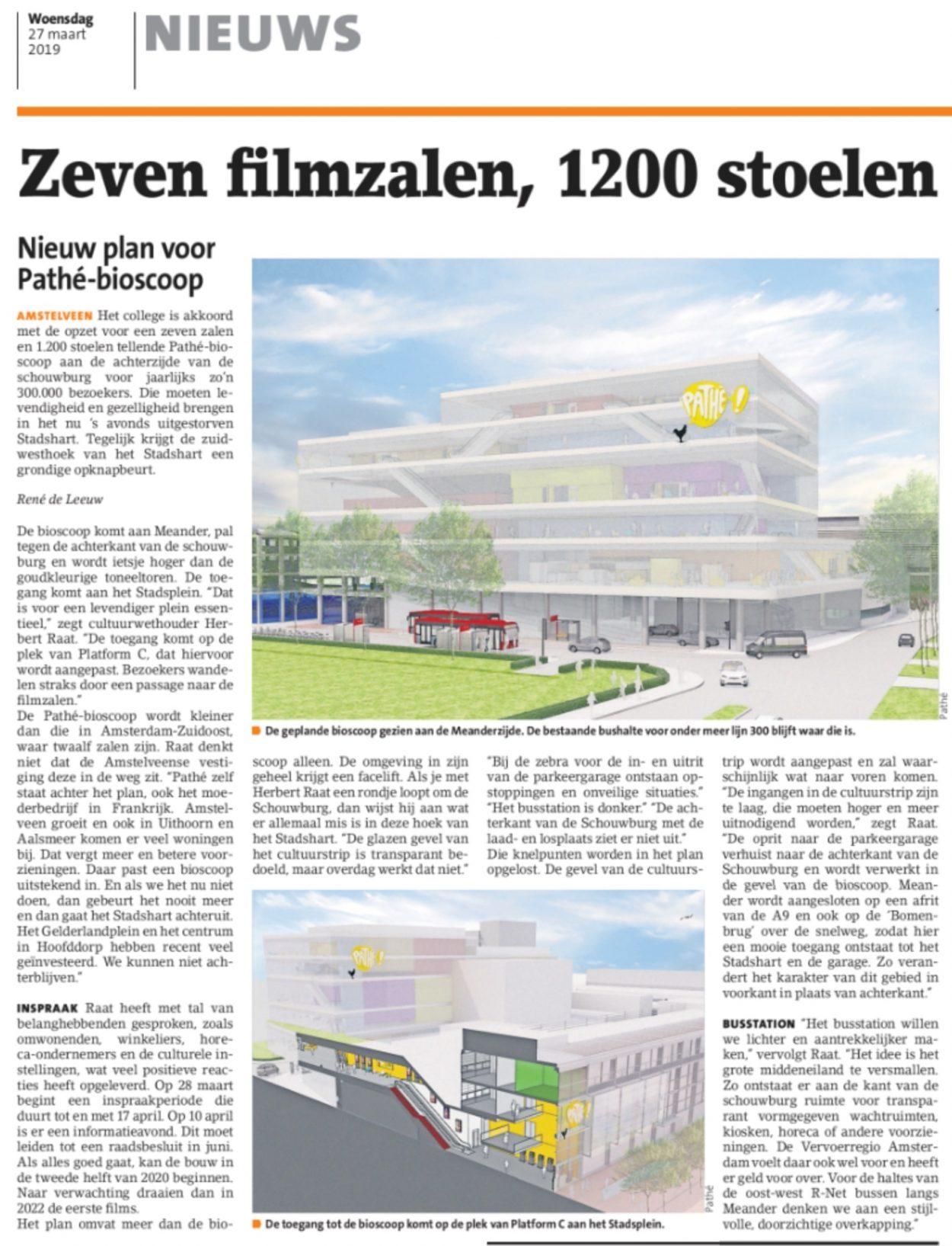 2019-27-3 Amstelveens Nieuwsblad; interview met wethouder Herbert Raat over mogelijke komst PATHE