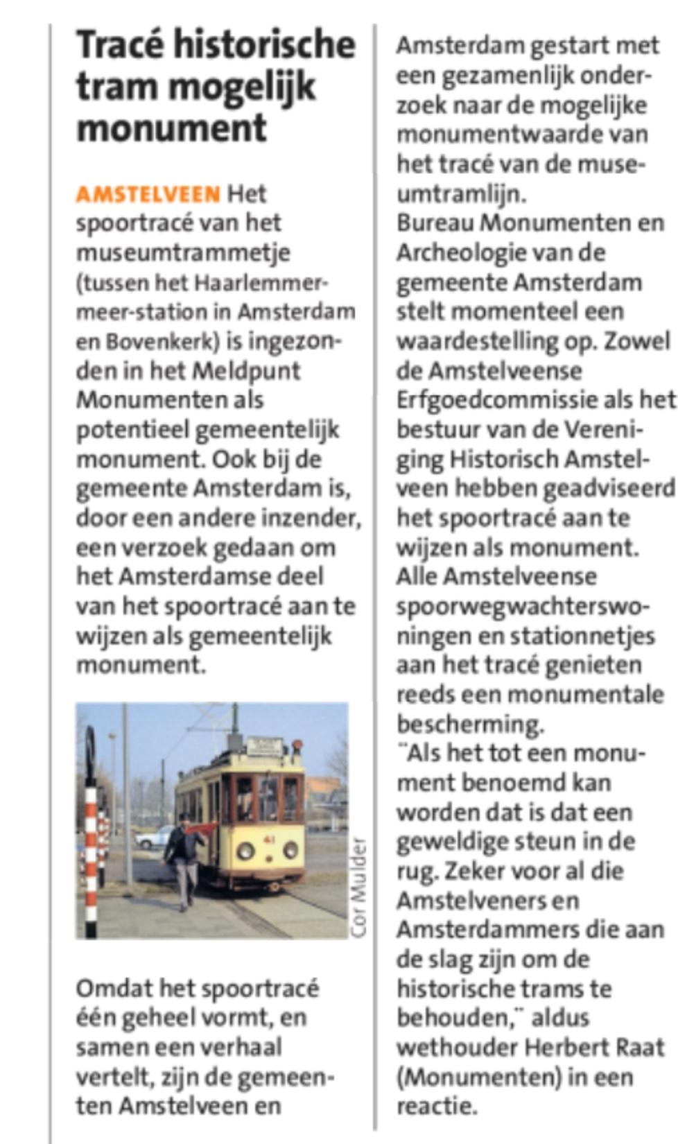 2019-20-3 Het Amstelveen Nieuwsblad; Herbert Raat over monumenten status historische elektrische tram