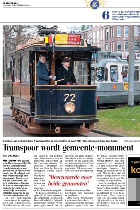 2019-31-12; De Telegraaf: Herbert Raat over monumentale voordracht historische Elektrische Museum tramlijn Amstelveen