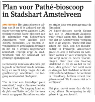 2019-27-3; Weekblad voor Ouder-Amstel: Hrebert Raat over komst Pathe bioscoop Amstelveen