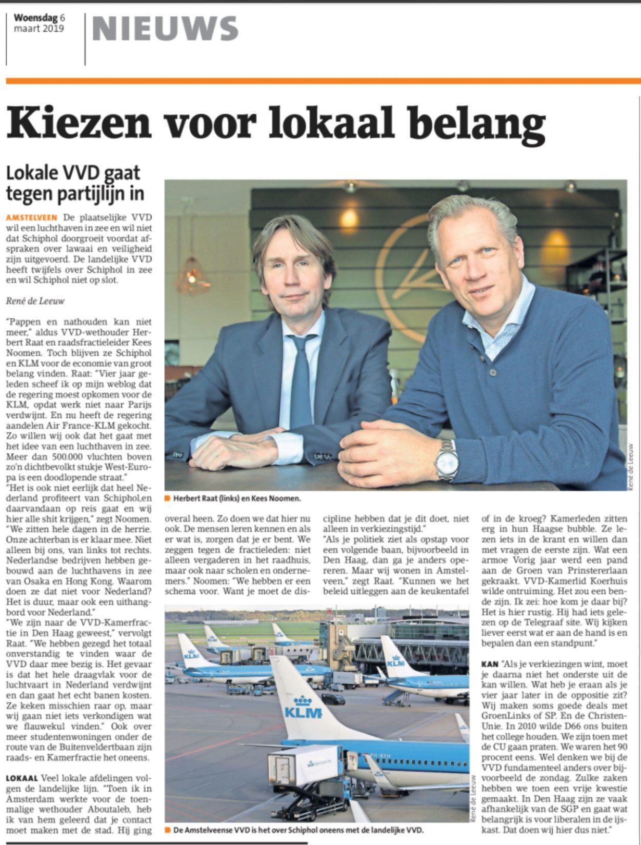 2019-6-3: Amsteveens Nieuwsblad: interview Herbert Raat en Kees Noomen over de VVD Amstelveen