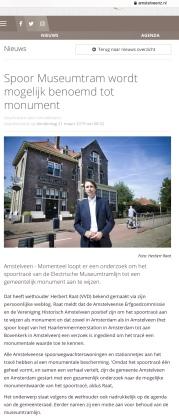 2019-20-3; AmstelveenZ ; Herbert Raat over monumenten status historische elektrische tram
