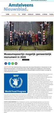 2019-31-12; Amstelveens Nieuwsblad: Herbert Raat over monumentale voordracht historische Museumtramlijn Amstelveen