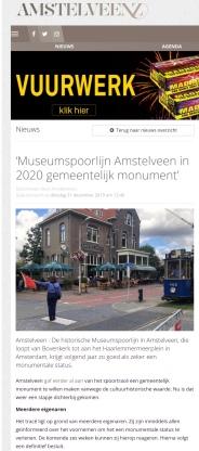 2019-31-12; AmstelveenZ: Herbert Raat over monumentale voordracht historische Museumtramlijn Amstelveen 1 van 2