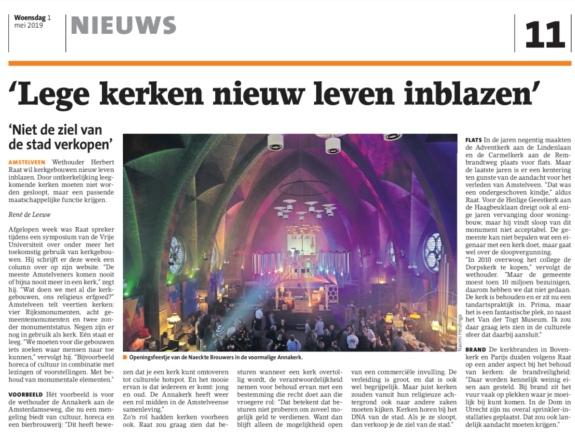 19-1-5 Amstelveens Nieuwsblad; Herbert Raat over religieus erfgoed Annakerk