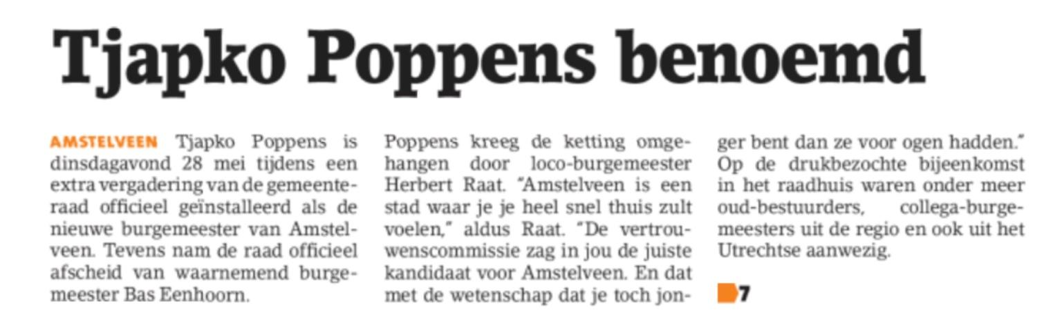 2019-29-5 Amstelveens Nieuwsblad: Herbert Raat over benoeming Tjapko Poppens tot burgemeester