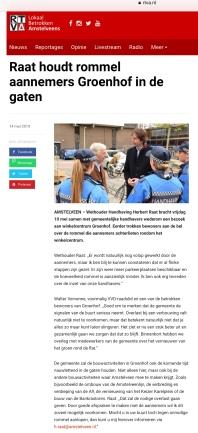 2019-mei: Amstelveenblog.nl; Herbert Raat over handhaving en aanpak bouwoverlast Meander