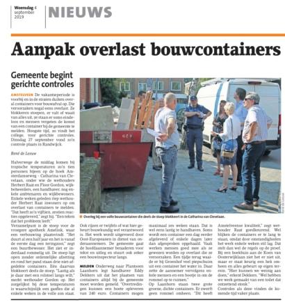 2019-4-9 Amstelveens Nieuwsblad; Herbert Raat en Floor Gordon over aanpak bouwoverlast