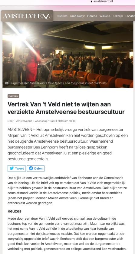 11-4-2018; Amstelveenz: ambtsbrief burgemeester Bas Eenhoorn aan commissaris Johan Remkes: Amstelveen goed bestuurde gemeente 1 van 2