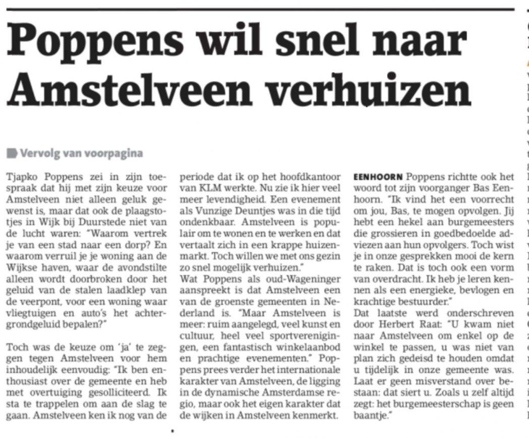 2019-29-5 Amstelveens Nieuwsblad: Herbert Raat en Tjapko Poppens over burgemeester Bas Eenhoorn