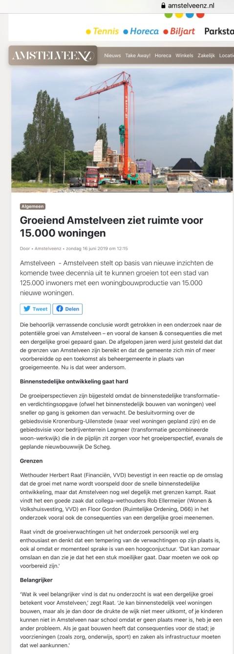 2019-19-6; Amstelveens Nieuwsblad; Herbert Raat en Floor Gordon over de groei van Amstelveen en de perspectiefnota 2020