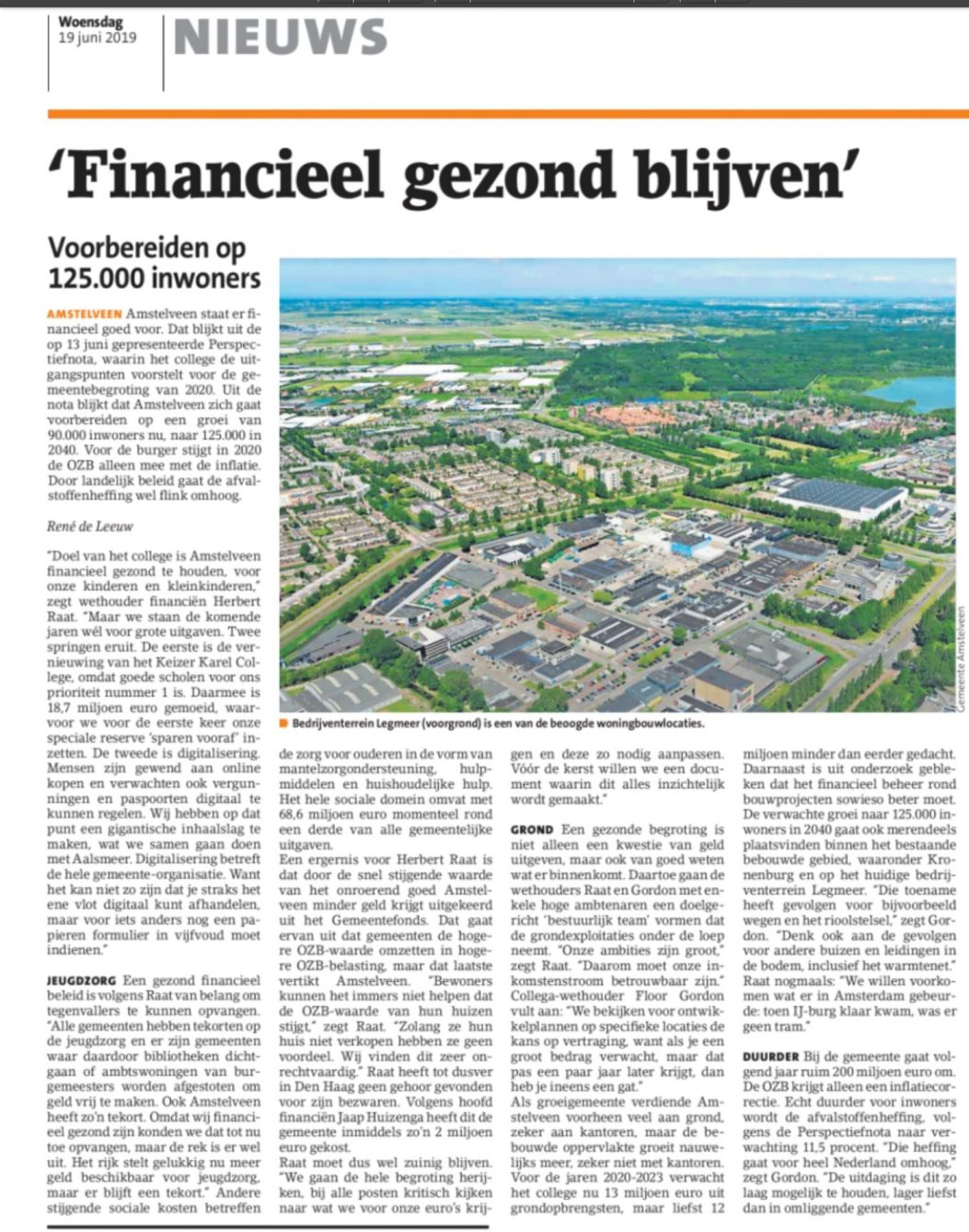 2019-19-6; Amstelveens Nieuwsblad; Herbert Raat en Floor Gordon over de grenzen aan de groei van Amstelveen en de perspectiefnota 2020