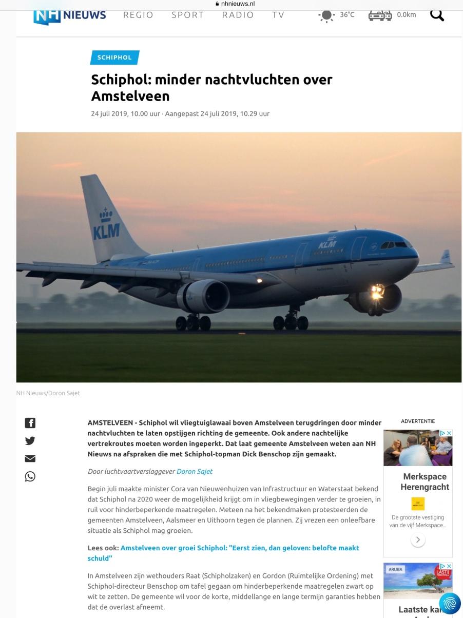 2019-24-7: RTVNH; Herbert Raat en Floor Gordon over afspraken Amstelveen Schiphol. 1 van 2