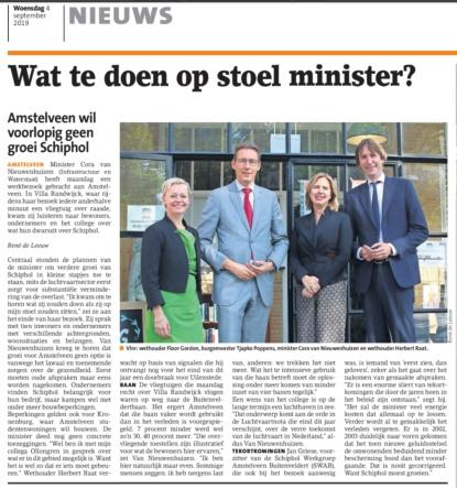 2019-4-9; Amstelveens Nieuwsblad; Herbert Raat, Floor Gordon, Tjapko Poppens en Cora van Nieuwenhuizen gesprek Schiphol