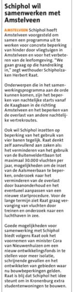 2019-24-7 Amstelveens Nieuwsblad: Herbert Raat over afspraken met Schiphol en Amstelveen