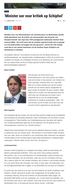 2019-24-7: AmstelveenBlog.nl; Herbert Raat over afspraken Schiphol Amstelveen