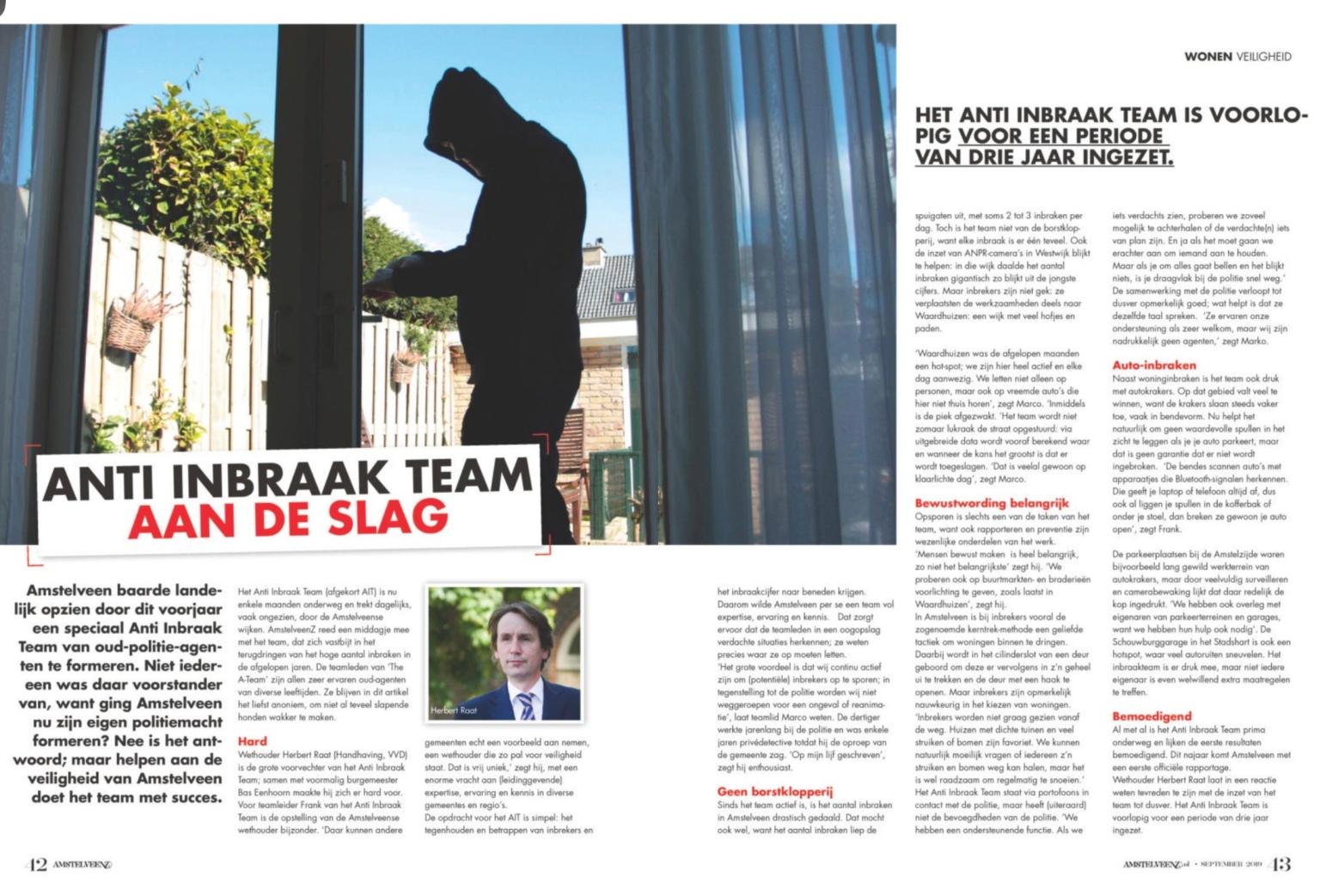 2019-September; AmstelveenZ; Herbert Raat over aanpak inbraken