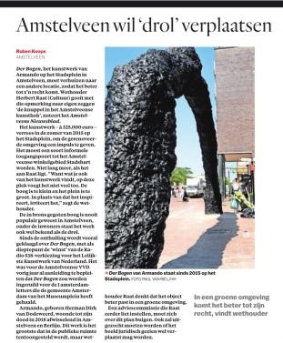 2019-23-9: Het Parool artikel van journalist Ruben Koops over het plan van Herbert Raat om der bogen te verplaatsen.