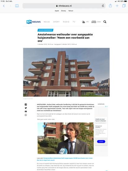 2019-2-10; NHnieuws: Herbert Raat over zelfbewoningsplicht in Amstelveen