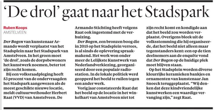 2020-14-1; Het Parool; Herbert Raat over verwijderden Der Bogen van stadsplein Amstelveen