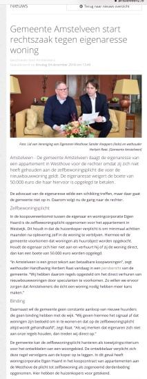 2018-4-12; Amstelveenz; Herbert Raat start pocedure zelfbewoningsplicht koper