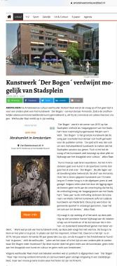 2019-19-9; Amstelveens Nieuwsblad: Herbert Raat over verplaatsen van Der Bogen van Armando