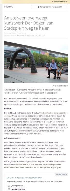 2019-19-9; Amstelveenz: wethouder Herbert Raat over verplaatsen van Der Bogen van Armando