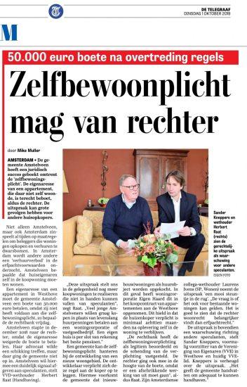 2019-1-10; De Telegraaf; Herbert Raat over handhaving zelfbewoningsplicht in Amstelveen