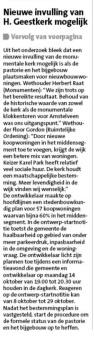 2019-8-10; Amstelveens Nieuwsblad; Herbert Raat en Floor Gordon over koopwoningen bij Heilige Geestkerk in Amstelveen. 2 van 2.