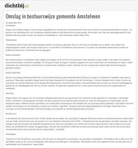 2014-23-12: AmstelveenDichtbij; Herbert Raat over noodzaak stadsvernieuwing Amstelveen