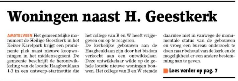 2019-8-10; Amstelveens Nieuwsblad; Herbert Raat en Floor Gordon over koopwoningen bij Heilige Geestkerk in Amstelveen. 1 van 2