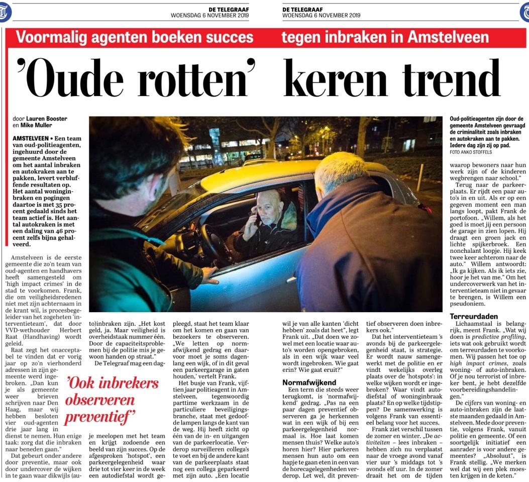 2019-6-11; De Telegraaf, Herbert Raat over inbraak aanpak Amstelveen