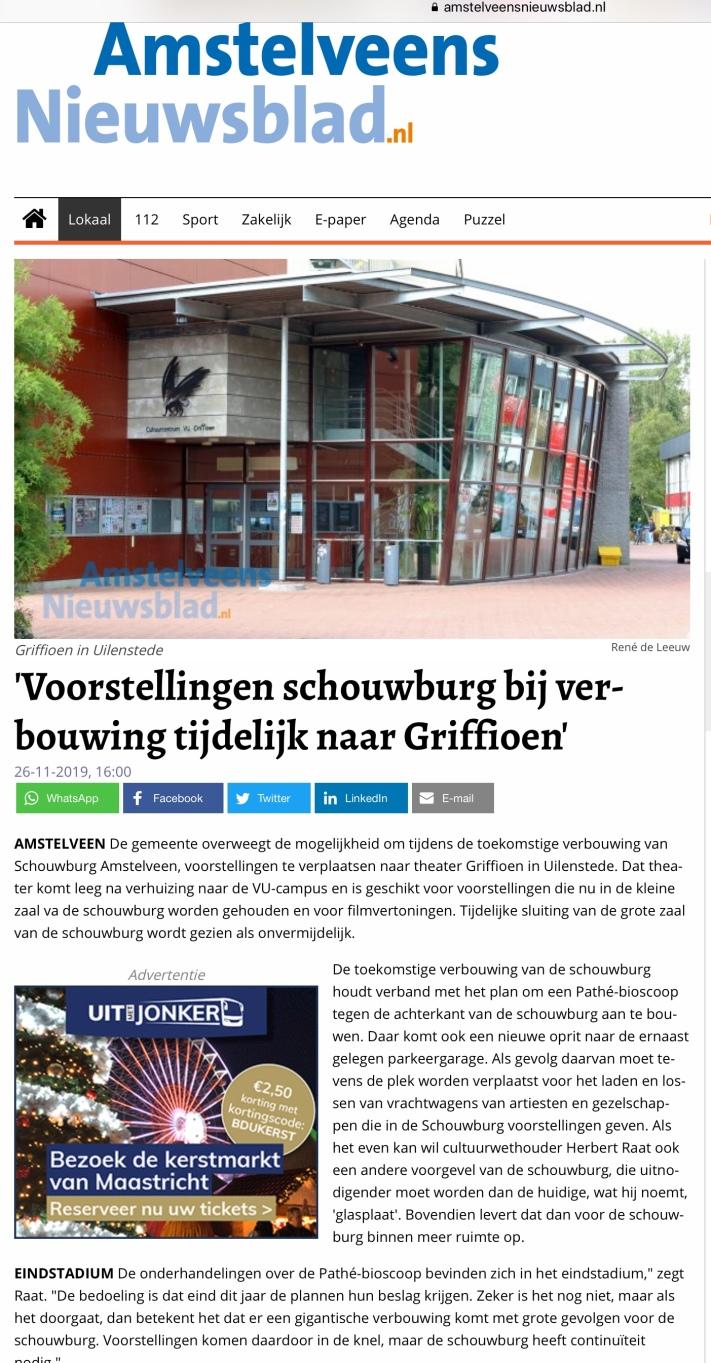 2019-26-11; Het Amstelveens Nieuwsblad; Herbert Raat over tijdelijke verhuizing schouwburg naar Griffioen 1 van 2